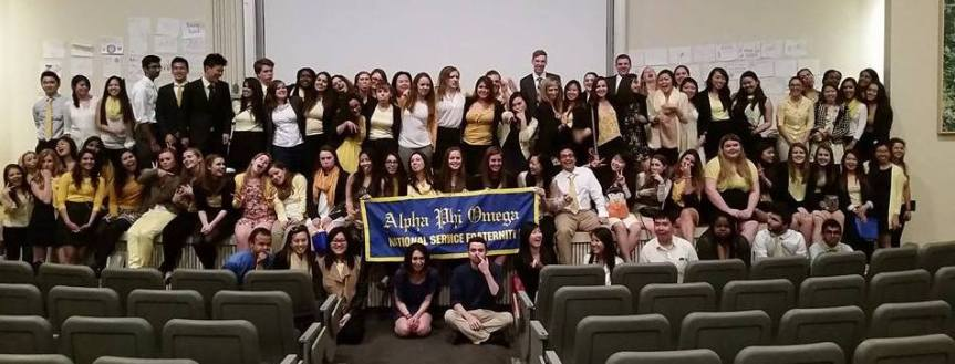 Brothers (blue) and Pledges (yellow) at our Spring 2015 Initiation!