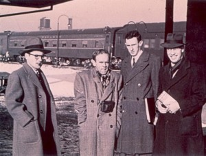 Members of Alpha Phi Omega on their way to the 1950 APO National Convention in Des Moines, Iowa. Photo taken at the Englewood railroad station in Chicago. Photo provided by Arthur Foss.