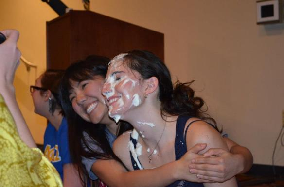 Dory poses with Lauren after getting pied in the face.