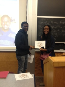 Chisom receiving her MVB award